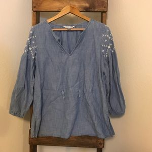 Old Navy Embroidered Chambray Tunic